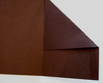 Brown gift card holder - first fold with adhesive