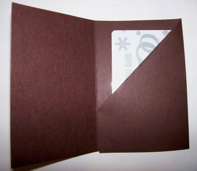 Brown gift card holder - open
