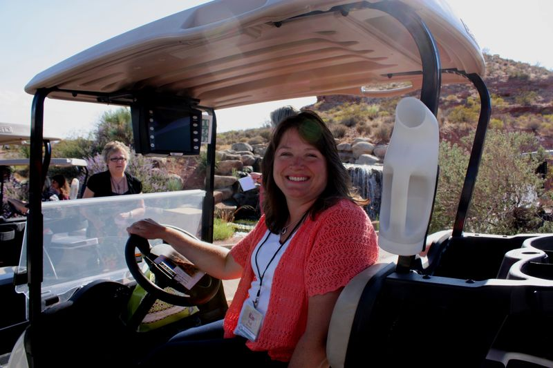 Kim in Golf cart