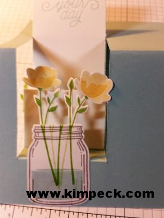 Stepper card - flowers attached to back of jar