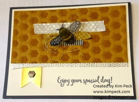 Bee card with inked honeycomb